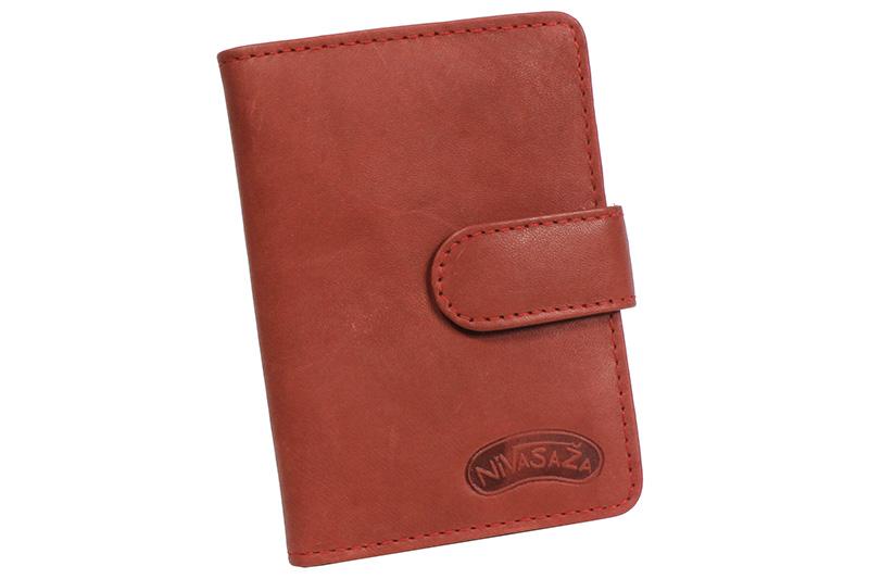 Kožené pouzdro na karty Nivasaža N160-MTH-R červené