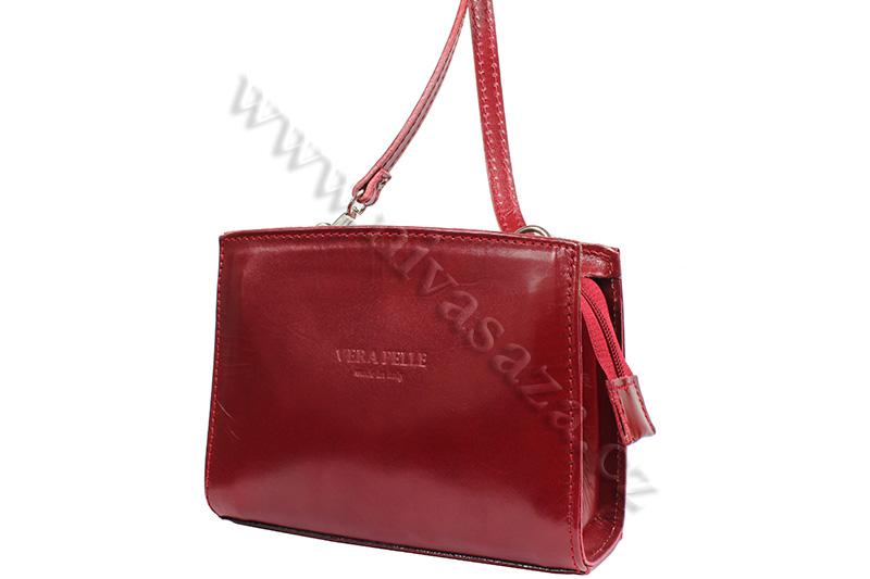 Dámská kožená kabelka ITA4889 červená