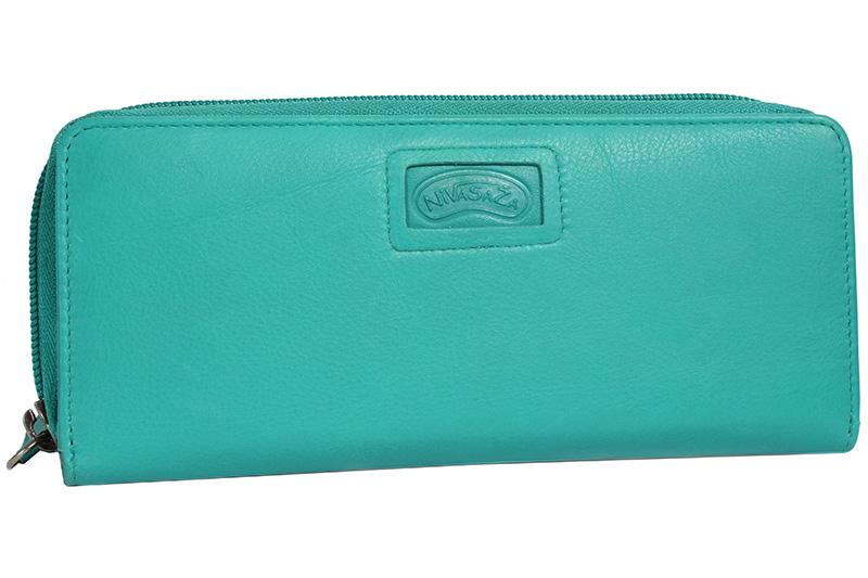Dámská kožená peněženka Nivasaža N222-PIC-TR tyrkysová