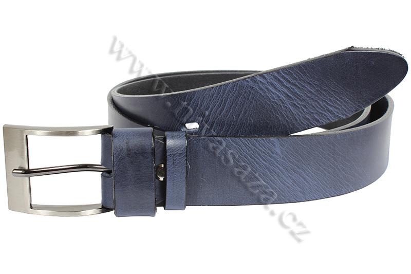 Kožený pásek PA502/40 modrý Velikost: 114-129 cm