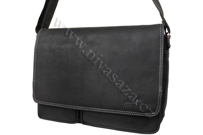 Pánská kožená taška Green Wood 116H-BLK černá