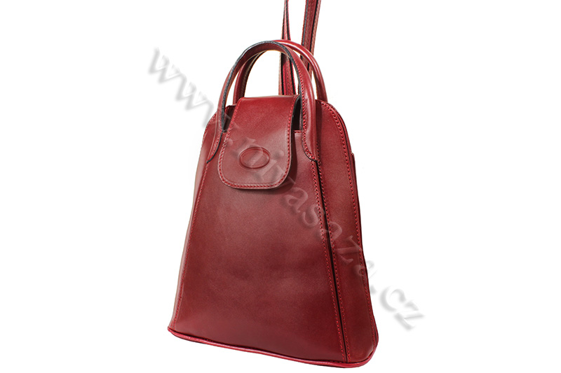 Dámský kožený batůžek ITA9551-R červený
