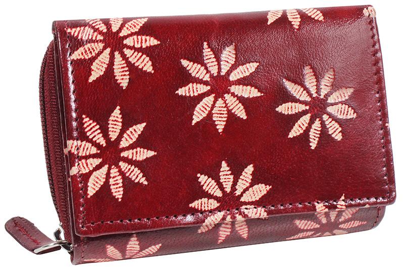 Dámská kožená peněženka Nivasaža N157-SNT-RF červená