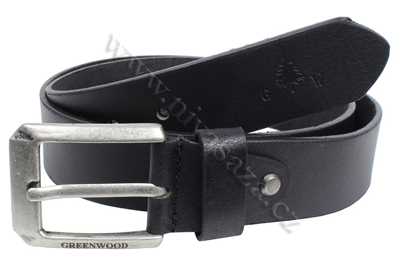 Kožený pásek Green Wood P. Milled černý Velikost: 100-110 cm