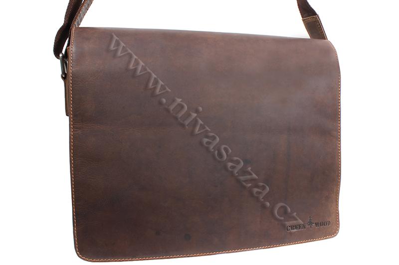 Pánská kožená taška Green Wood 835H2-KHA hnědá