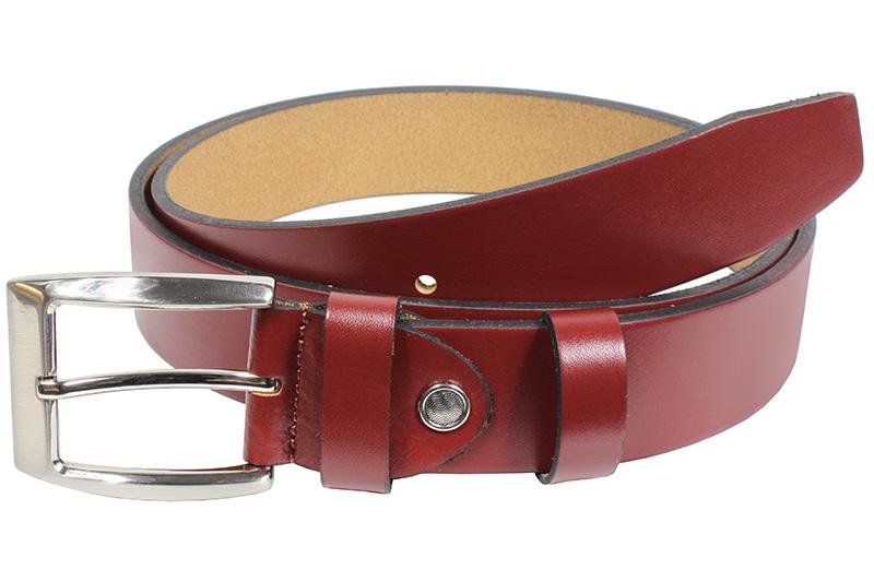 Dámský kožený pásek Nivasaža N2000-VTI-R2 tmavě červený Velikost: 89-99 cm