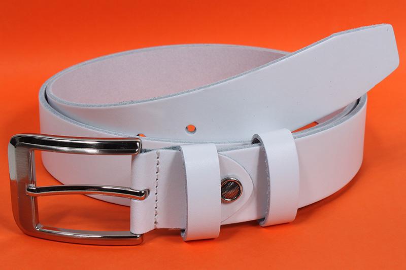Kožený pásek Nivasaža N2000-VTI-W bílý Velikost: 93-103 cm