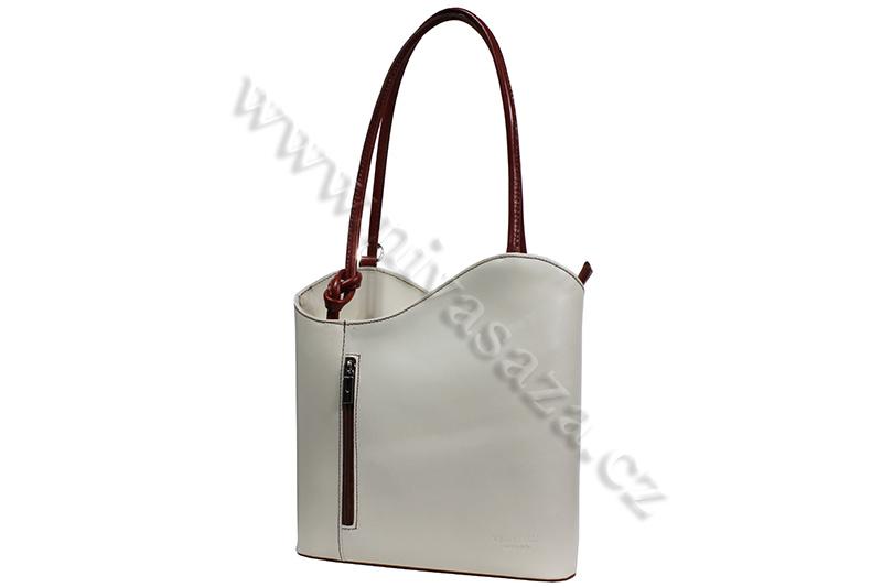 Dámská kožená kabelka ITA594-CR krémová
