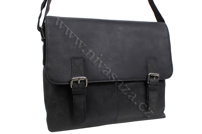 Pánská kožená taška Green Wood 191030H-BLK černá