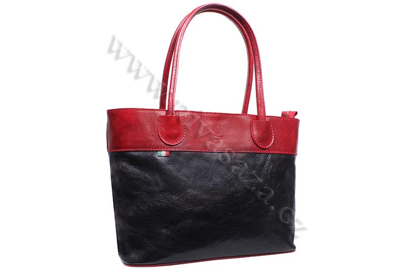 Dámská kožená kabelka ITA3582-B2 černo-červená