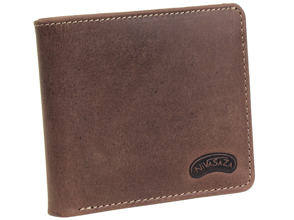 Pánská kožená peněženka Nivasaža N216-HNT-BR hnědá