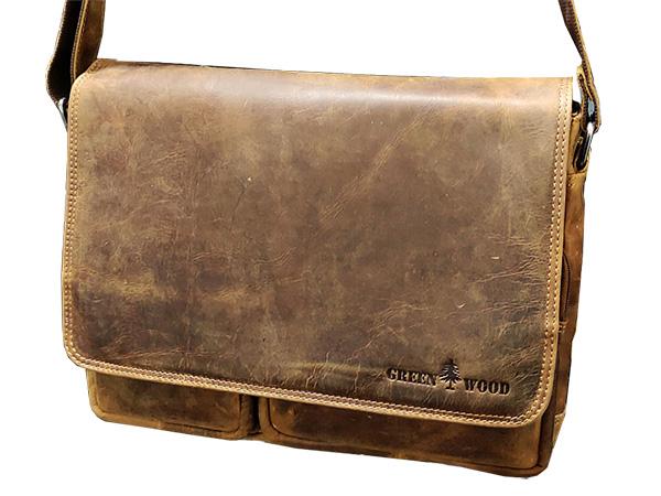 Pánská kožená taška Green Wood 116H-CAM hnědá
