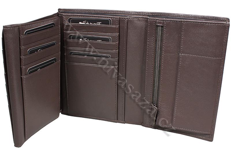 Kožená peněženka (náprsní taška) Silvercat SC006-BR hnědá