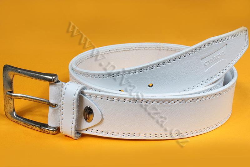 Kožený pásek Carrera 3305/40 bílý Velikost: 93-103 cm