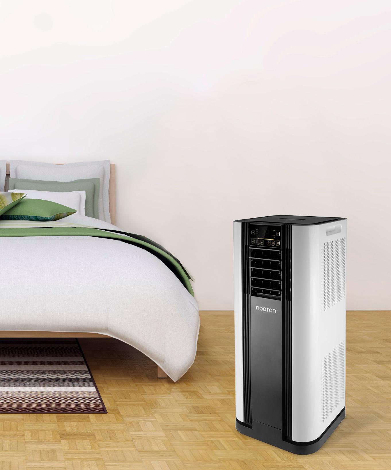 Mobiles Klimagerät Noaton AC 5109 mit Fernsterdichtung AL 4010 - im Schlafferzimmer