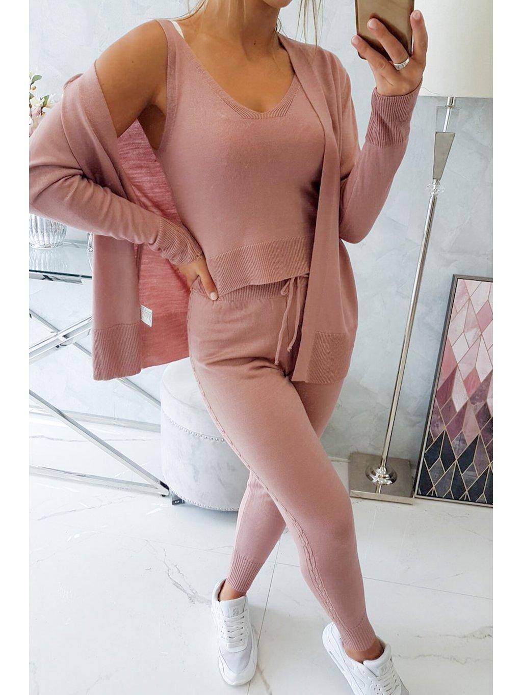 Trojdílný svetrový komplet tmavě růžový