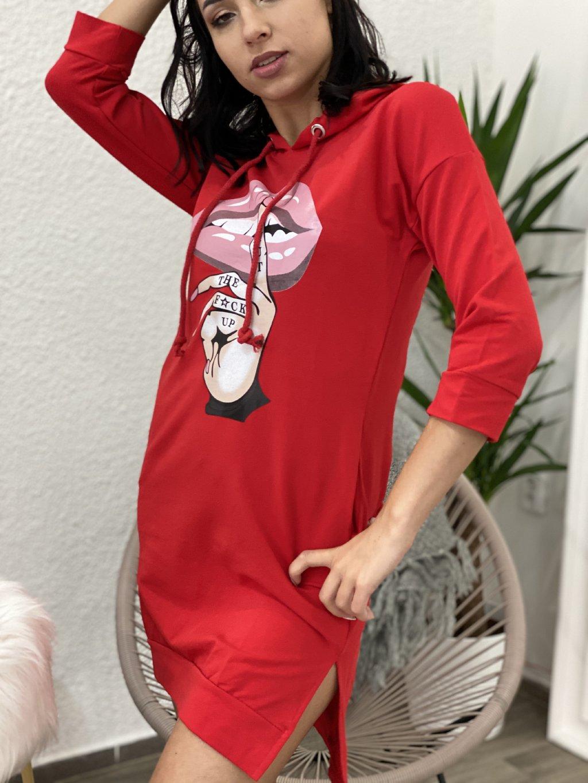 Mikinové šaty s potiskem červené