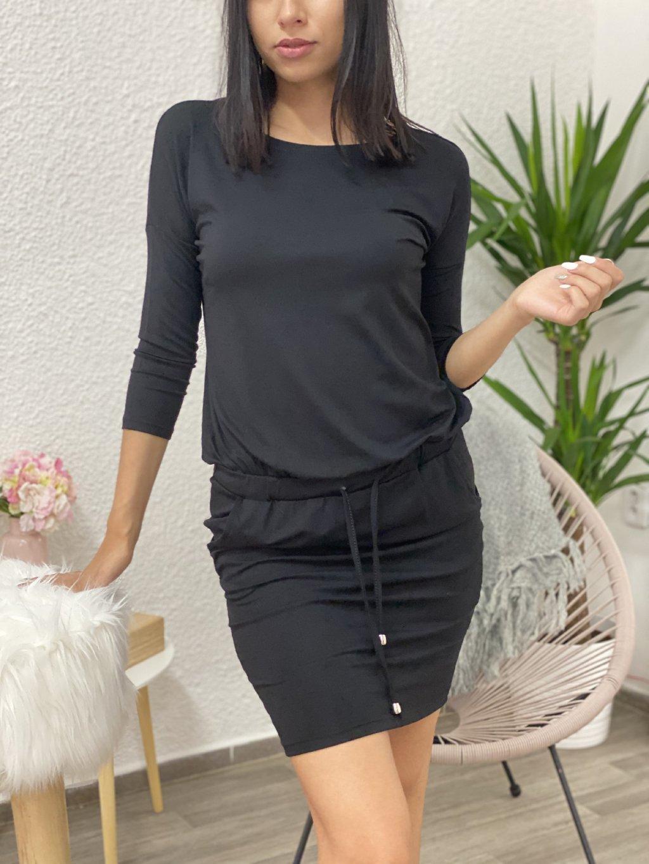 Šaty svázané v pase černé