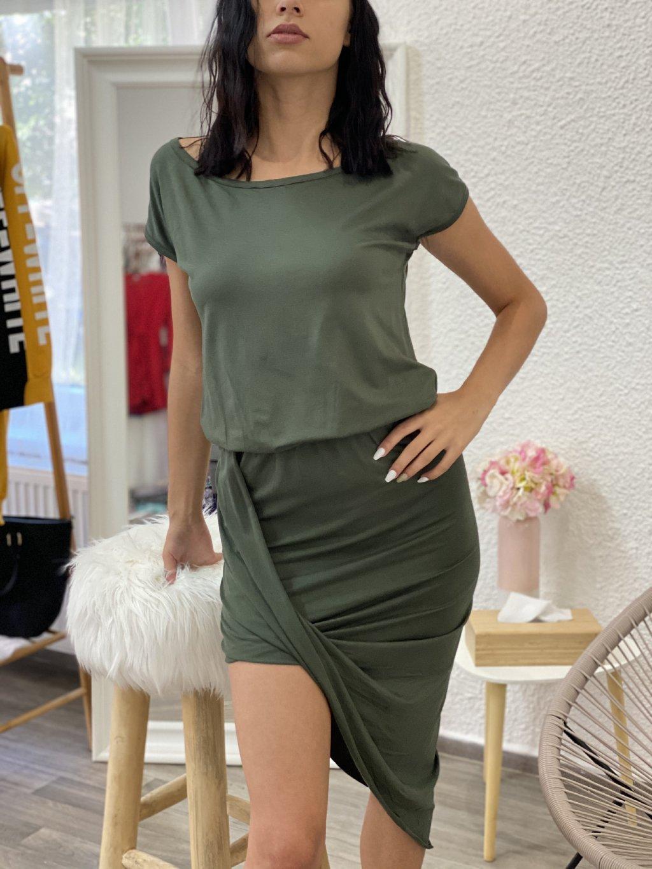 Šaty asymetrické s krátkým rukávem kahki