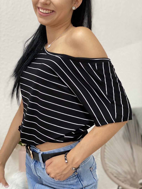 Tričko Natasha černo-bílé