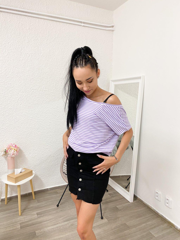 Tričko Gina bílo-fialové