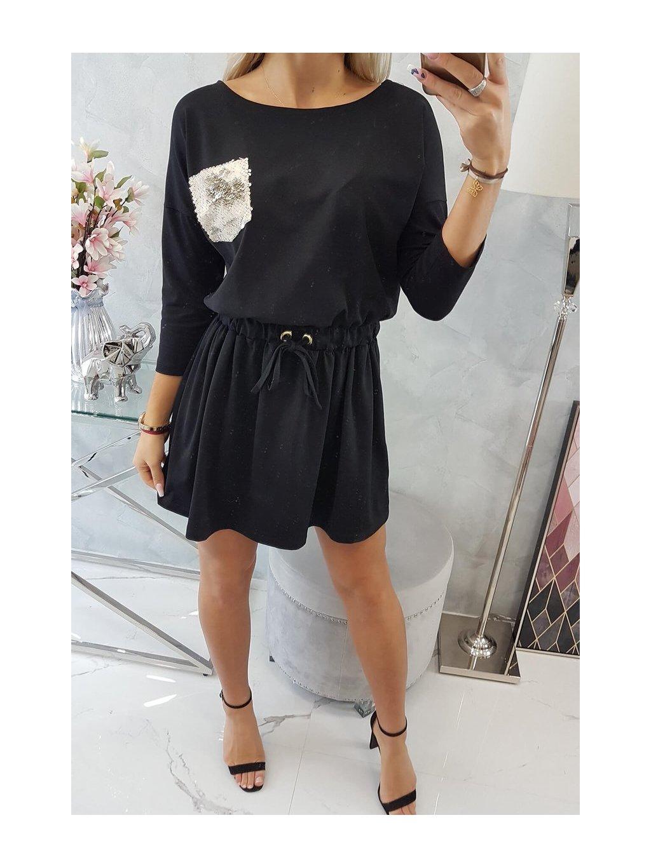 Šaty s flitrovou kapsou černé