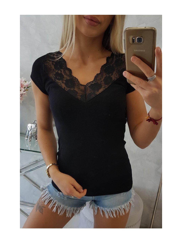 Tričko s krajkou ve výstřihu černé