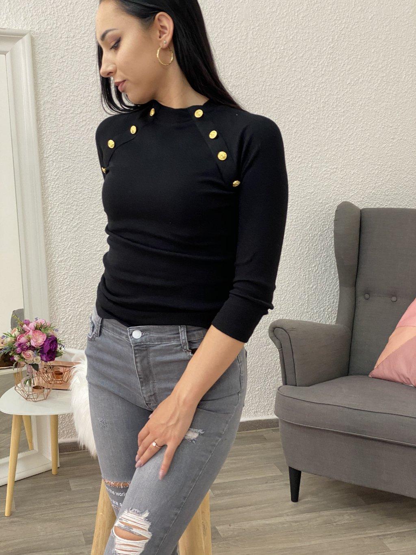 Tričko se zlatými knoflíky černé