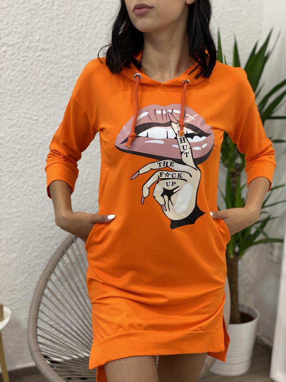 Mikinové šaty s potiskem oranžové