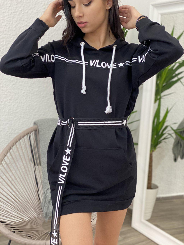 Šaty mikinové s páskou černé