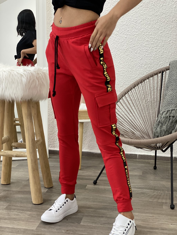 Tepláky fashion červené