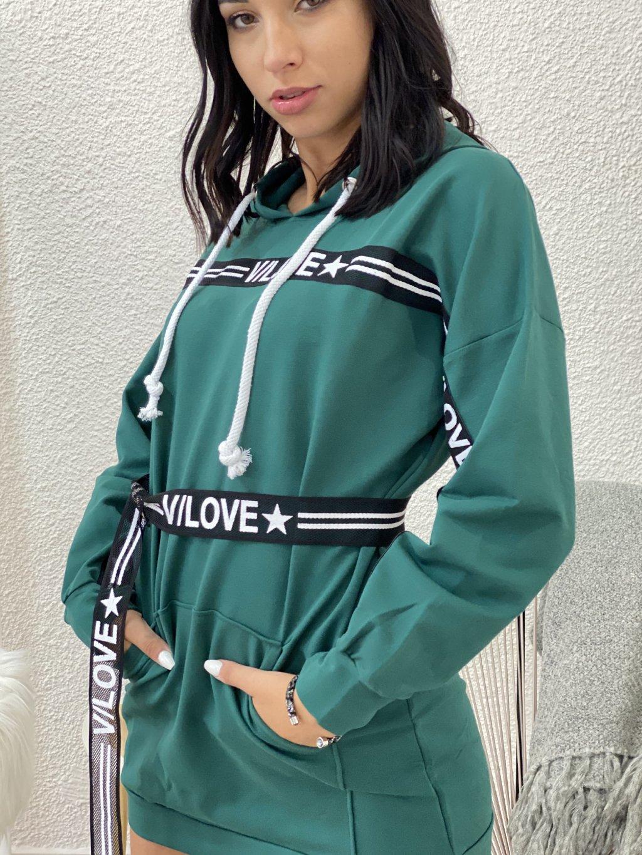 Šaty mikinové s páskou zelené