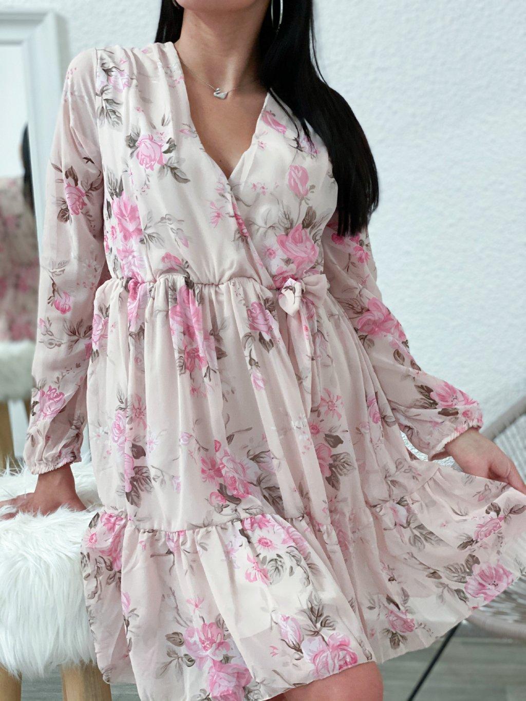 Šaty květované béžové