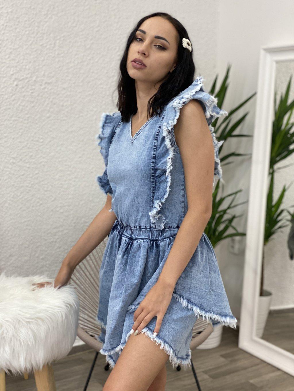 Šaty džínové s dvojitým volánkem