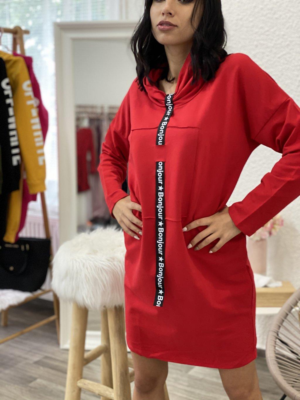 Mikinové šaty s kravatou červené