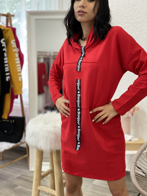 Šaty mikinové s páskou červené