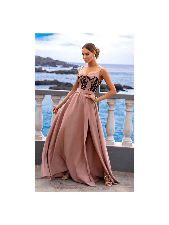 Šaty dlouhé s rozparkem Salma béžovo-černé