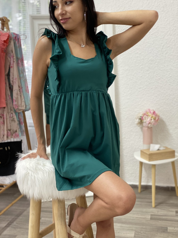 Šaty s volánkami po stranách zelené