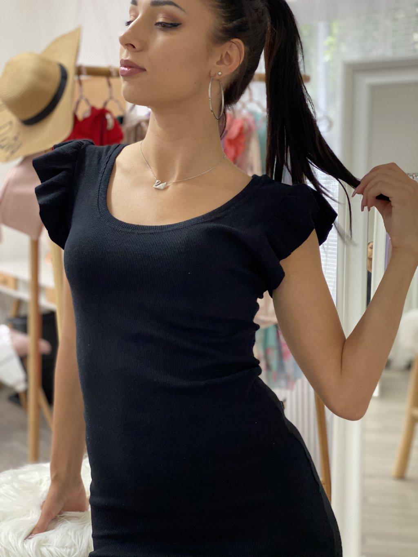 Šaty s volánky na rukávech černé