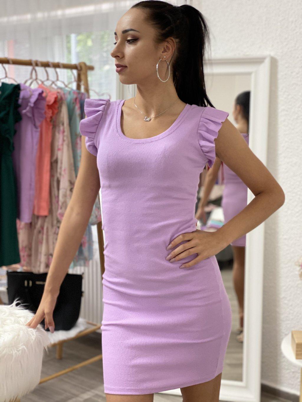 Šaty s volánky na rukávech lila