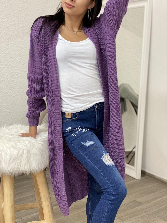 Kardigan dlouhý pletený hladký fialový