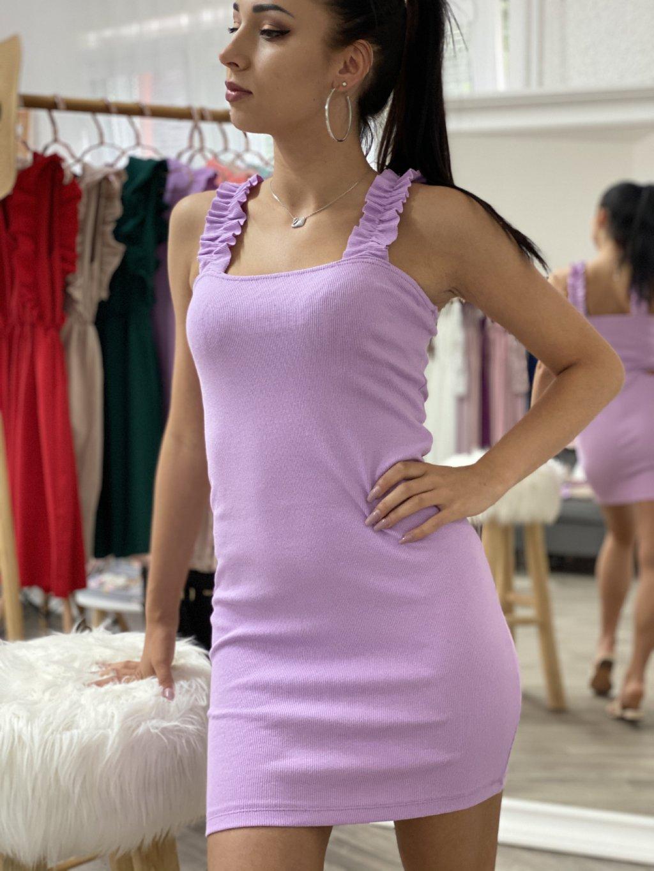 Šaty s nařasenými ramínky lila