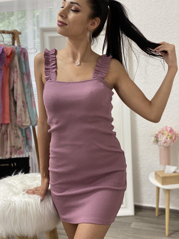 Šaty s nařasenými ramínky růžové