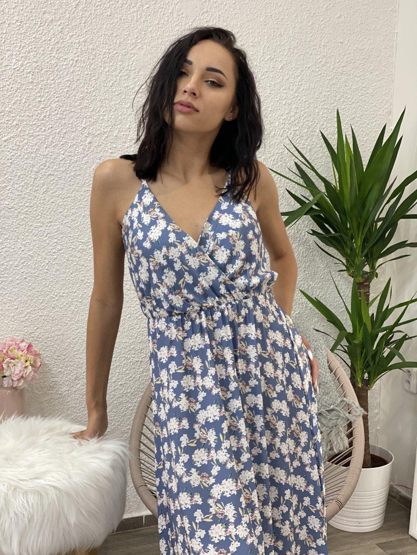 Šaty dlouhé s květy modré