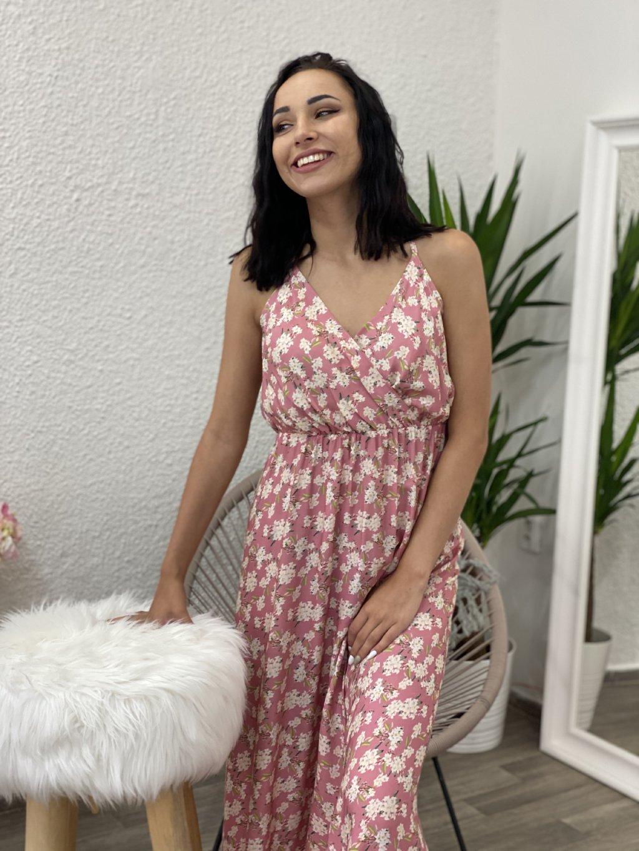 Šaty dlouhé s květy růžové