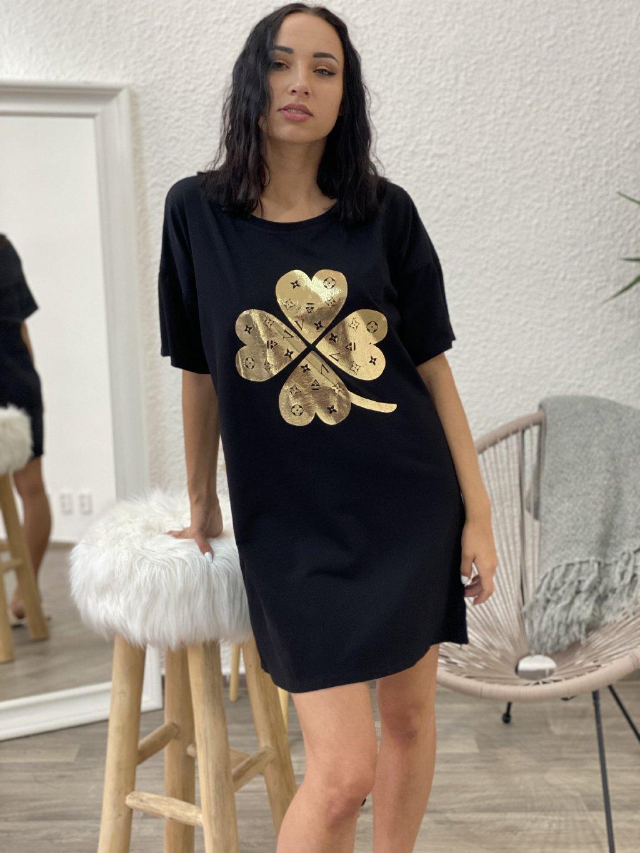 Šaty oversize se zlatým potiskem černé
