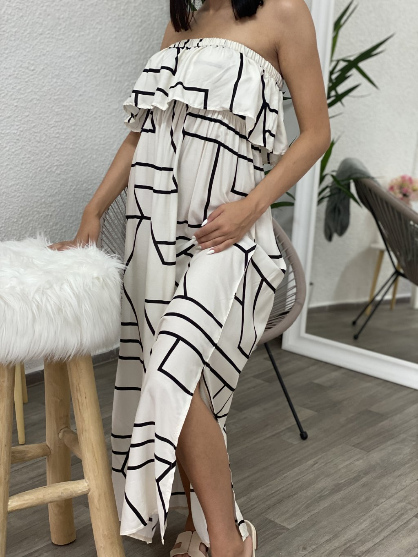 Šaty dlouhé bez ramínek se vzorem béžové