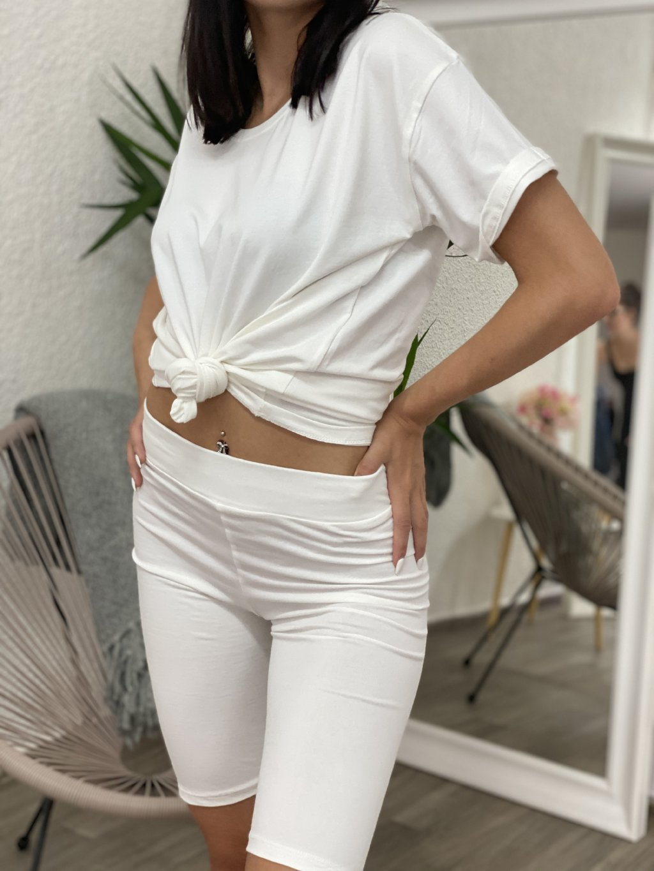 Komplet tričko+legíny bílé