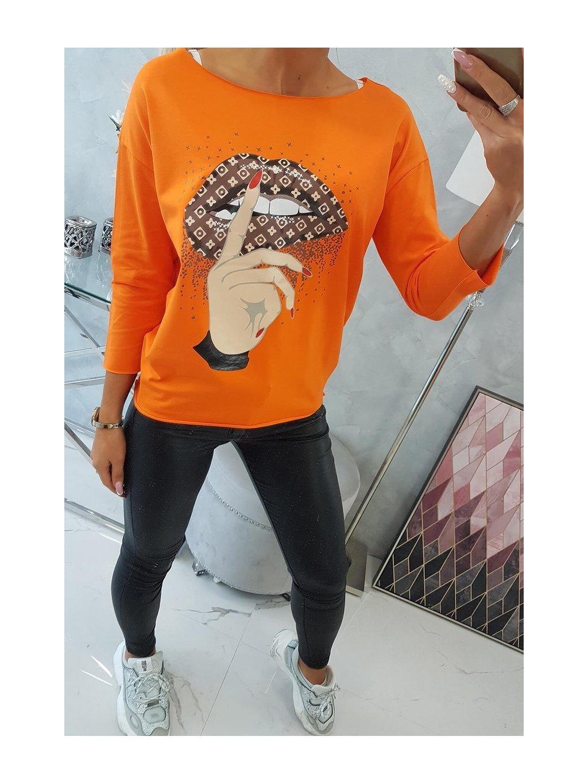 slo pl Bluzka s farebnou potlacou oranzovy neon 14694 4