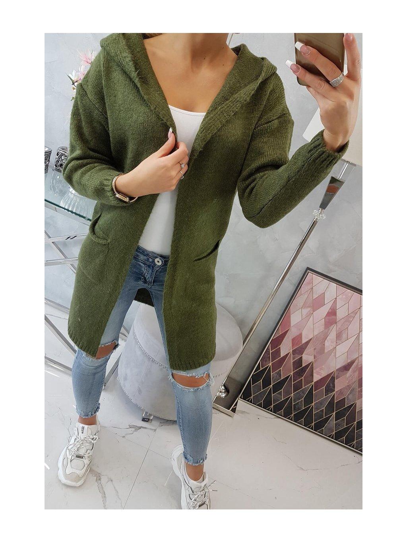 slo pl Obycajny sveter s kapucnou a vreckami khaki 19145 5